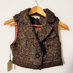 Forever 21 Boutique Brown Metallic Cropped Vest S